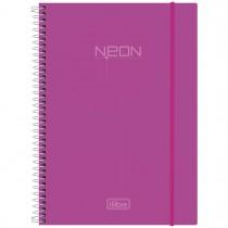Imagem - Caderno Espiral Capa Plástica Universitário 10 Matérias Neon Rosa 200 Folhas