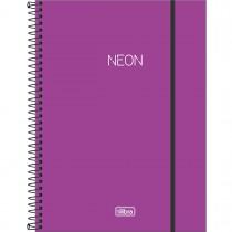 Imagem - Caderno Espiral Capa Plástica Universitário 10 Matérias Neon Roxo 160 Folhas