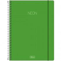 Imagem - Caderno Espiral Capa Plástica Universitário 10 Matérias Neon Verde 160 Folhas