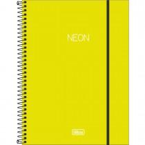 Imagem - Caderno Espiral Capa Plástica Universitário 10 Matérias Neon Verde Limão 160 Folhas