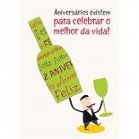 Imagem - Cartão Handmade Beauty Aniversário Estampa Garrafa e Taça- Grafon's