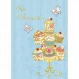 Imagem - Cartão Handmade Beauty Aniversário Estampa Cupcakes e borboletas - Grafon's
