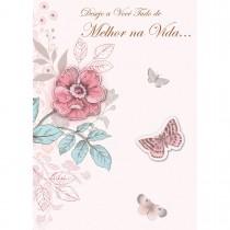 Imagem - Cartão Handmade Beauty Aniversário Estampa Flores e Borboletas - Grafon's
