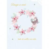 Imagem - Cartão Handmade Beauty Aniversário Estampa Guirlanda de Flores- Grafon's