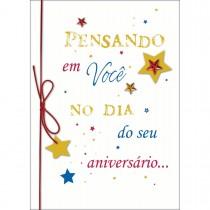 Imagem - Cartão Handmade Beauty Aniversário Estampa Pensando em você  - Grafon's