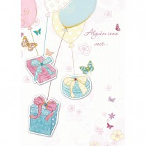 Imagem - Cartão Handmade Beauty Aniversário Estampa Presente nos balões- Grafon's