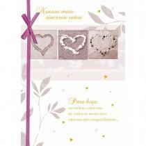 Imagem - Cartão Handmade Beauty Casamento Estampa Votos e corações - Grafon's
