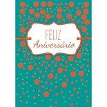 Imagem - Cartão Handmade Beauty Aniversário Estampa Poá Laranja- Grafon's