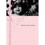 Imagem - Cartão Handmade Beauty Nascimento Estampa Bebê nasce uma estrela rosa - Grafon's