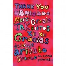 Imagem - Cartão Magic Moments Agradecimento Estampa Obrigado em várias linguas - Grafon's