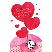 Imagem - Cartão Magic Moments Amor Estampa Panda balões coração - Grafon's