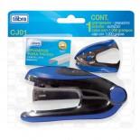 Imagem - Conjunto Grampeador 20 Folhas de Mesa + Extrator + Grampos CJ01 Azul