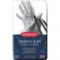Imagem - Estojo de lata com 12 lápis Graduado de Alta Dureza B, HB, F, H, 2H, 3H, 4H, 5H, 6H, 7H, 8H e 9H Derwent...