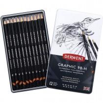 Estojo de lata com 12 lápis Graduado de Baixa Dureza: 9B, 8B, 7B, 6B, 5B, 4B, 3B, 2B, B, HB, F e H