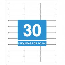 Etiqueta Adesiva Inkjet + Laser Carta 25,4x66,7mm 6180100 Folhas 3000 Unidades