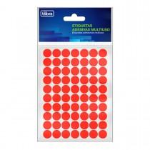 Etiqueta Adesiva Multiuso 13mm Vermelho Fluor 6 folhas 420 Unidades