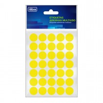 Imagem - Etiqueta Adesiva Multiuso 19mm Amarelo Fluor 6 folhas 210 Unidades