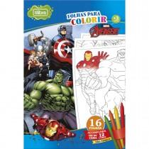 Folhas para Colorir Gigante com Giz de Cera Avengers - 16 Folhas