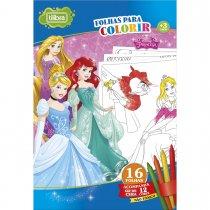 Imagem - Folhas para Colorir Gigante com Giz de Cera Princesas - 16 Folhas
