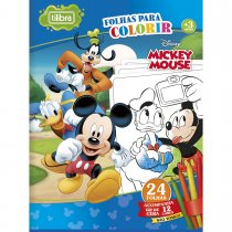 Imagem - Folhas para Colorir Grande com Giz de Cera Mickey - 24 Folhas