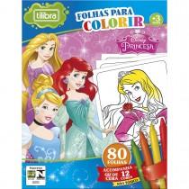 Imagem - Folhas para Colorir Mini com Giz de Cera Princesas - 80 Folhas