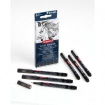 Imagem - Kit Estojo com 6 Canetas Graphik Line Maker 0,05/0,1/0,2/0,3/0,5/0,8mm Preta Derwent