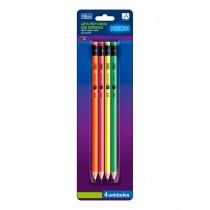 Lápis Preto Redondo com Borracha N.2 Académie Neon - Blister com 4 Unidades