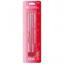 Lápis Preto Redondo N.2 Love Pink - Blister com 4 Unidades