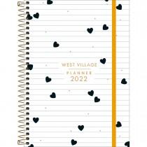 Imagem - Planner Espiral 12,9 x 18,8 cm West Village 2022 - Fundo Branco com Listras e Corações - Sortido