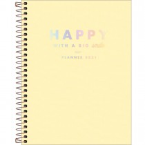 Imagem - Planner Espiral 17,7 x 24 cm Happy Amarelo 2021