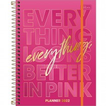 Imagem - Planner Espiral 17,7 x 24 cm Love Pink 2022 - Everything Looks Better In Pink - Sortido