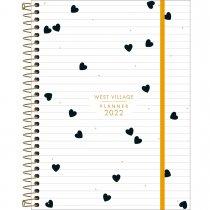 Imagem - Planner Espiral 17,7 x 24 cm West Village 2022 - Fundo Branco com Listras e Corações - Sortido