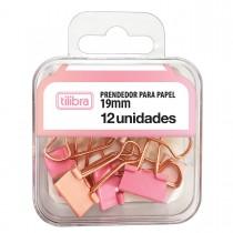 Prendedor de Papel 19mm Rosa Pastel 12 Unidades