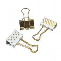 Imagem - Prendedor de Papel 25mm Dourado, Listras e Bolinhas 10 Unidades