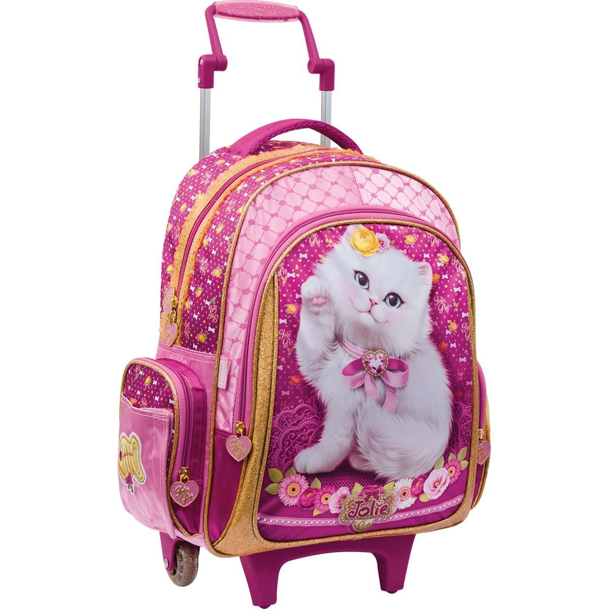 780168ec1e4d3 Mochila de Rodinhas Infantil Grande Jolie Pet Gato Top