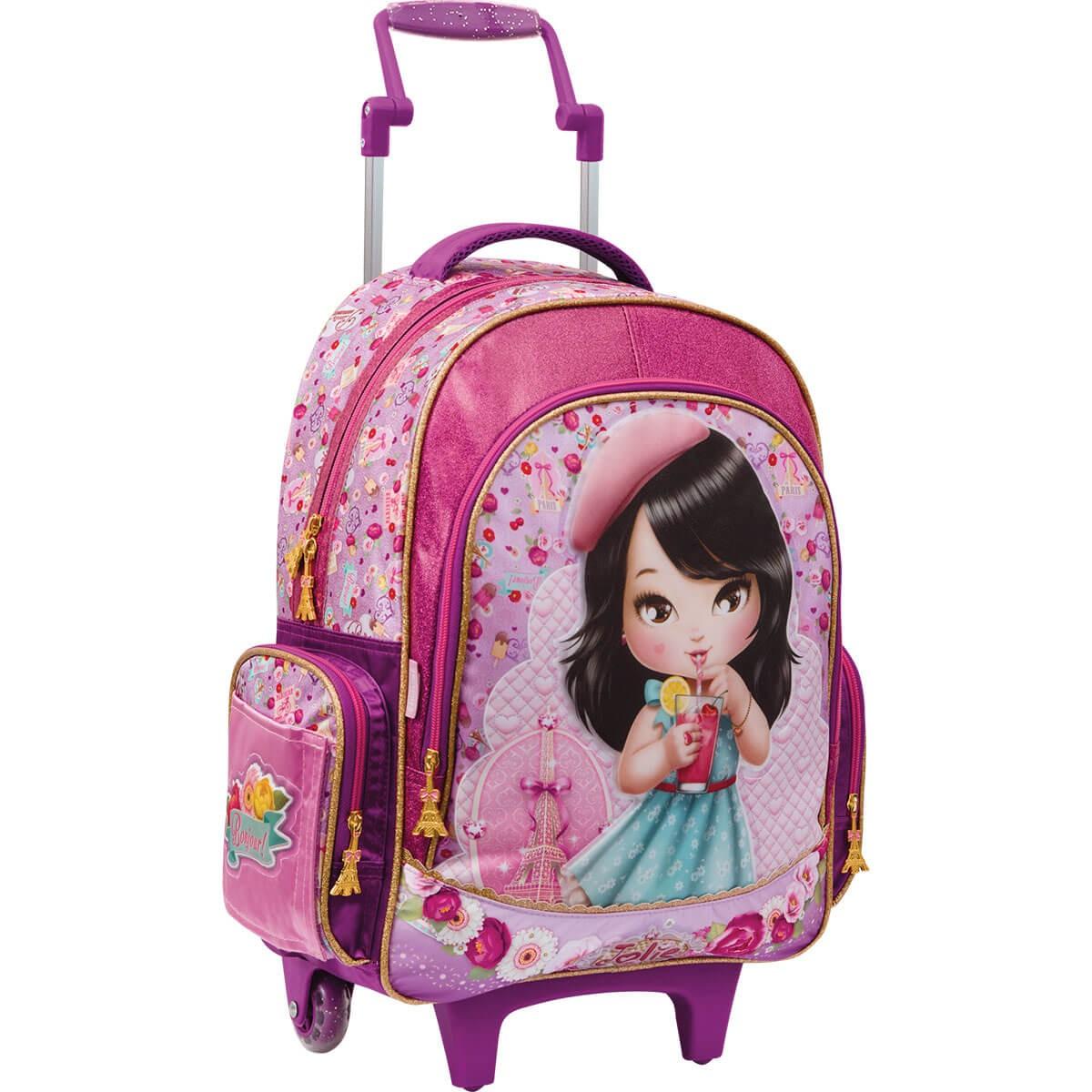 dc66d748680c8 Mochila Infantil de Rodinhas Grande Top Jolie Oriental