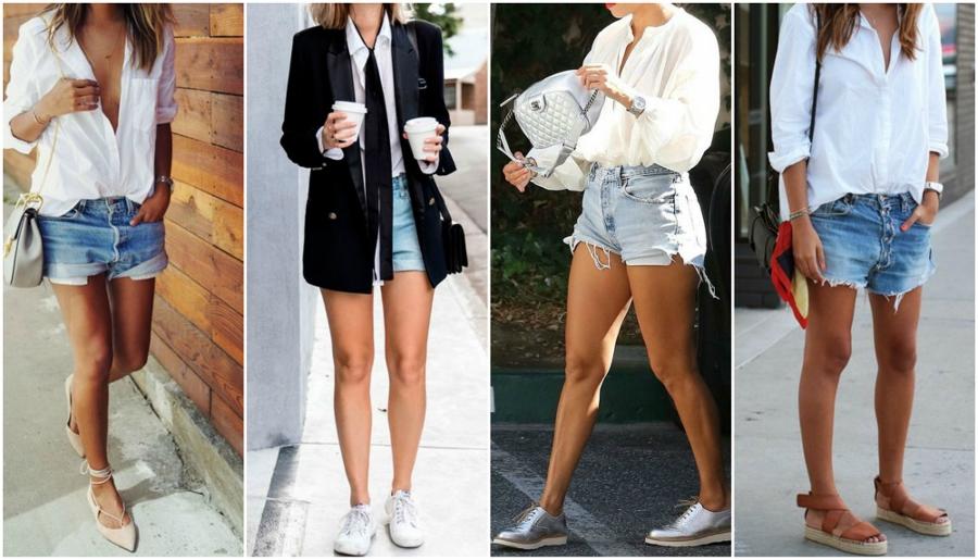camisa branca feminina com shorts