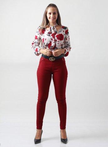 Camisa Feminina Floral com Laço