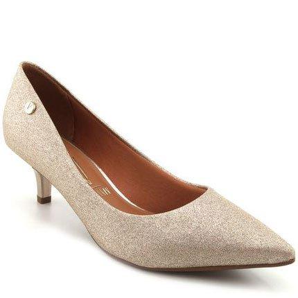 7866974f7b Sapato Scarpin Dourado Glitter Salto Baixo Vizzano Dourado - MM Concept