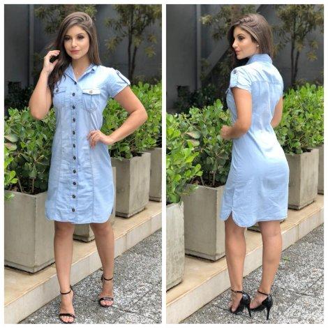 Vestido Jeans Feminino Chemise com Botões Na frente