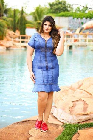 Vestido Feminino Jeans Zíper Frontal