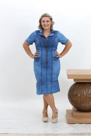 Vestido Jeans com Babados Midi Plus Size