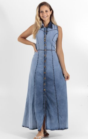 Vestido Longo Jeans com Botões