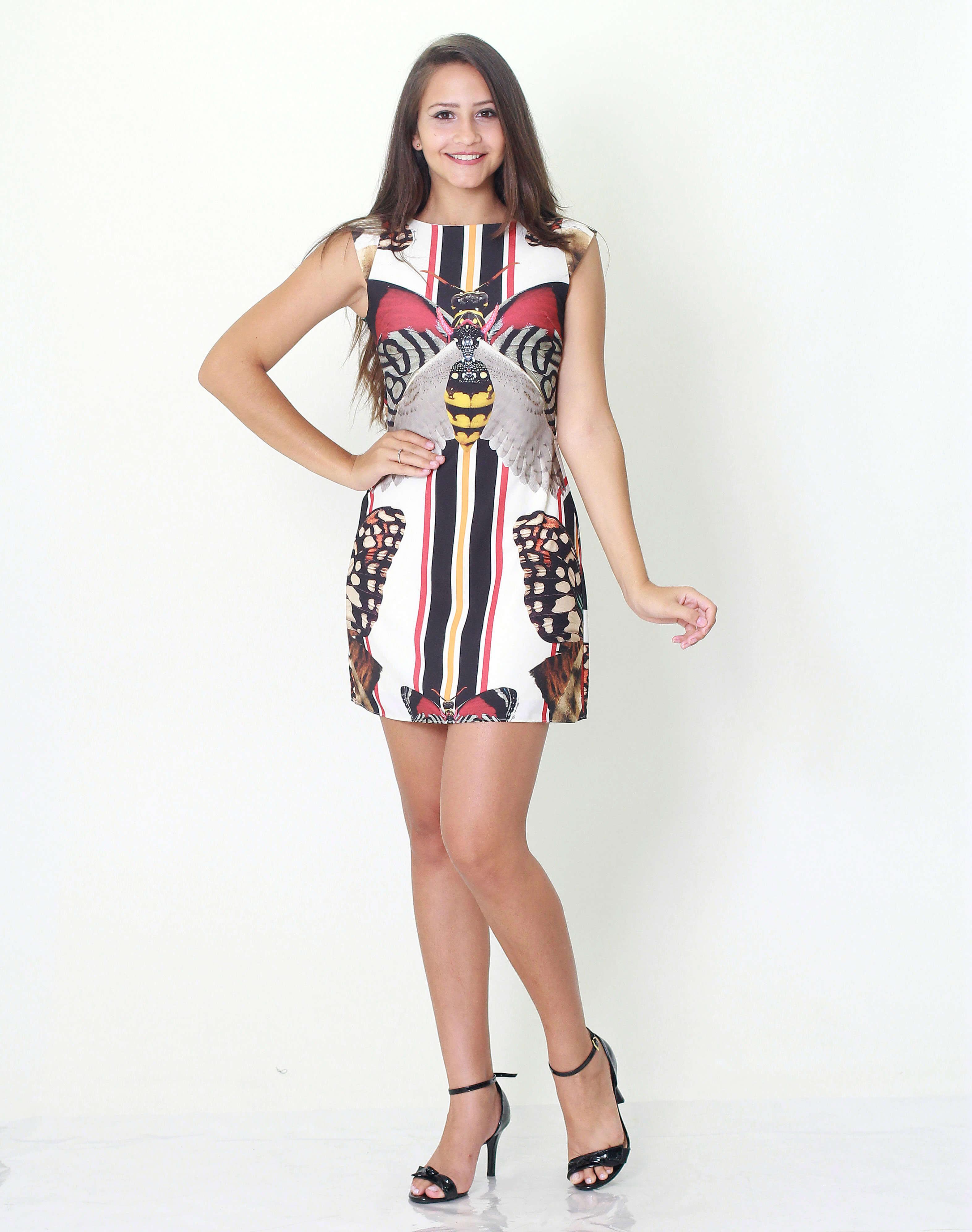 0eaa383ee2 Vestido Morena Rosa Abertura Costas Estampa Estampado - MM Concept