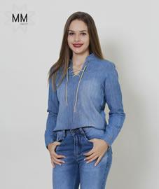 Imagem - Camisa Feminina Jeans com amarração