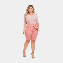 Imagem - Bermuda Feminina Sarja Plus Size Lunender com Amarração