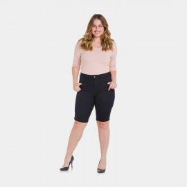 Imagem - Bermuda Preta Sarja Feminina Plus Size Lunender