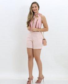 Imagem - Blusa Social Feminina Crepe Gola Laço Estampada