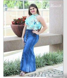 Imagem - Saia Jeans Longa com Botões Frontais