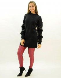 Imagem - Vestido Blusa Alongada Mini Veste Feminina Tricot